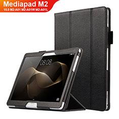 Funda de Cuero Cartera con Soporte para Huawei MediaPad M2 10.0 M2-A01 M2-A01W M2-A01L Negro