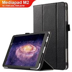 Funda de Cuero Cartera con Soporte para Huawei MediaPad M2 10.1 FDR-A03L FDR-A01W Negro