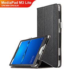 Funda de Cuero Cartera con Soporte para Huawei MediaPad M3 Lite 8.0 CPN-W09 CPN-AL00 Negro
