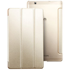 Funda de Cuero Cartera con Soporte para Huawei MediaPad M3 Oro