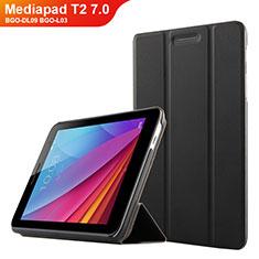 Funda de Cuero Cartera con Soporte para Huawei Mediapad T2 7.0 BGO-DL09 BGO-L03 Negro
