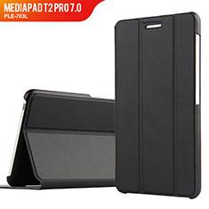 Funda de Cuero Cartera con Soporte para Huawei MediaPad T2 Pro 7.0 PLE-703L Negro