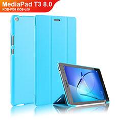 Funda de Cuero Cartera con Soporte para Huawei MediaPad T3 8.0 KOB-W09 KOB-L09 Azul Cielo