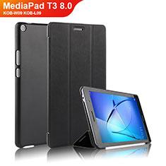 Funda de Cuero Cartera con Soporte para Huawei MediaPad T3 8.0 KOB-W09 KOB-L09 Negro