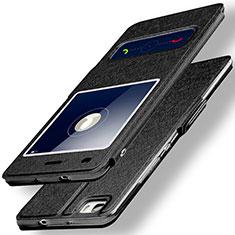 Funda de Cuero Cartera con Soporte para Huawei P8 Lite Negro