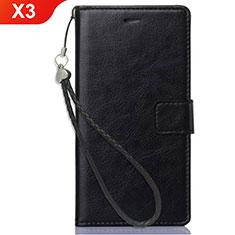 Funda de Cuero Cartera con Soporte para Nokia X3 Negro