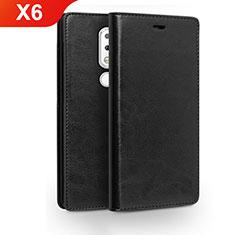 Funda de Cuero Cartera con Soporte para Nokia X6 Negro