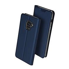 Funda de Cuero Cartera con Soporte para Samsung Galaxy A8+ A8 Plus (2018) Duos A730F Azul