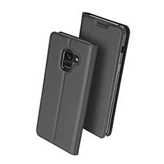 Funda de Cuero Cartera con Soporte para Samsung Galaxy A8+ A8 Plus (2018) Duos A730F Negro