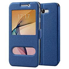 Funda de Cuero Cartera con Soporte para Samsung Galaxy J7 Prime Azul