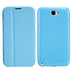 Funda de Cuero Cartera con Soporte para Samsung Galaxy Note 2 N7100 N7105 Azul Cielo
