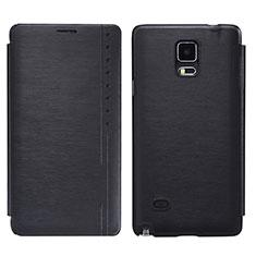 Funda de Cuero Cartera con Soporte para Samsung Galaxy Note 4 Duos N9100 Dual SIM Negro