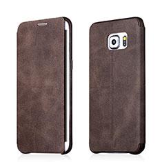 Funda de Cuero Cartera con Soporte para Samsung Galaxy S6 Edge+ Plus SM-G928F Marron