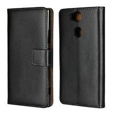 Funda de Cuero Cartera con Soporte para Sony Xperia XA2 Plus Negro