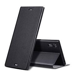 Funda de Cuero Cartera con Soporte para Sony Xperia XZ Negro