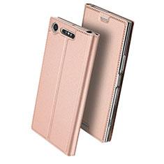 Funda de Cuero Cartera con Soporte para Sony Xperia XZ1 Compact Oro Rosa