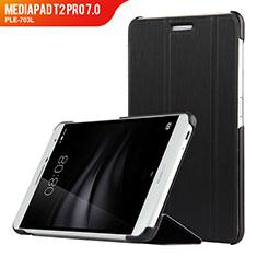 Funda de Cuero Cartera con Soporte R01 para Huawei MediaPad T2 Pro 7.0 PLE-703L Negro