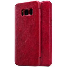 Funda de Cuero Cartera con Soporte S01 para Samsung Galaxy S8 Plus Rojo
