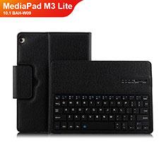 Funda de Cuero Cartera con Teclado L01 para Huawei MediaPad M3 Lite 10.1 BAH-W09 Negro