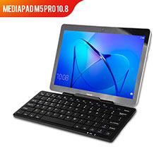 Funda de Cuero Cartera con Teclado L01 para Huawei MediaPad M5 Pro 10.8 Negro