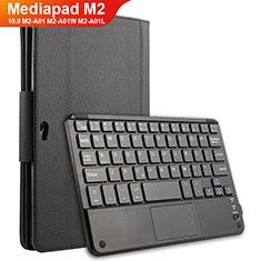 Funda de Cuero Cartera con Teclado para Huawei MediaPad M2 10.0 M2-A01 M2-A01W M2-A01L Negro