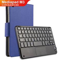 Funda de Cuero Cartera con Teclado para Huawei Mediapad M3 8.4 BTV-DL09 BTV-W09 Azul