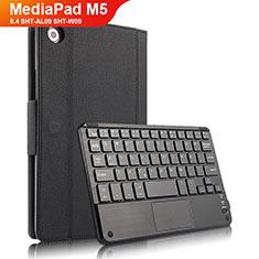 Funda de Cuero Cartera con Teclado para Huawei MediaPad M5 8.4 SHT-AL09 SHT-W09 Negro