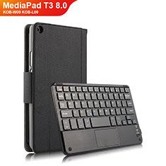 Funda de Cuero Cartera con Teclado para Huawei MediaPad T3 8.0 KOB-W09 KOB-L09 Negro
