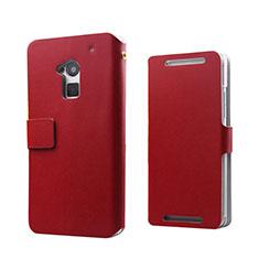 Funda de Cuero Cartera para HTC One Max Rojo