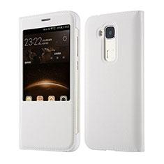 Funda de Cuero Cartera para Huawei G8 Blanco