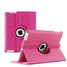 Funda de Cuero Giratoria con Soporte para Apple iPad 4 Rosa Roja