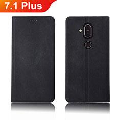 Funda de pano Cartera con Soporte para Nokia 7.1 Plus Negro