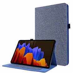Funda de pano Cartera con Soporte para Samsung Galaxy Tab S7 11 Wi-Fi SM-T870 Azul