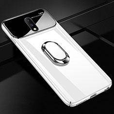 Funda Dura Plastico Rigida Carcasa Espejo 360 Grados con Magnetico Anillo de dedo Soporte para OnePlus 7 Blanco