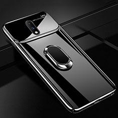 Funda Dura Plastico Rigida Carcasa Espejo 360 Grados con Magnetico Anillo de dedo Soporte para OnePlus 7 Negro