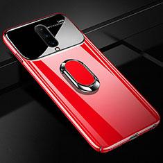 Funda Dura Plastico Rigida Carcasa Espejo 360 Grados con Magnetico Anillo de dedo Soporte para OnePlus 7 Pro Rojo