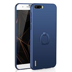 Funda Dura Plastico Rigida Carcasa Mate con Anillo de dedo Soporte A01 para Huawei Honor 6 Plus Azul
