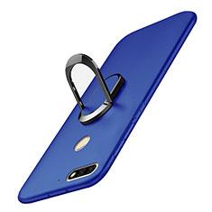 Funda Dura Plastico Rigida Carcasa Mate con Anillo de dedo Soporte A01 para Huawei Honor 7C Azul