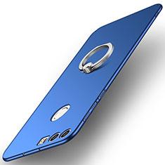 Funda Dura Plastico Rigida Carcasa Mate con Anillo de dedo Soporte A01 para Huawei Honor 8 Azul
