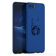Funda Dura Plastico Rigida Carcasa Mate con Anillo de dedo Soporte A01 para Huawei Honor V10 Azul