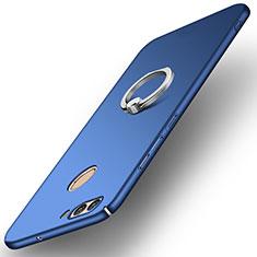 Funda Dura Plastico Rigida Carcasa Mate con Anillo de dedo Soporte A01 para Huawei Nova 2 Azul