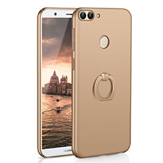 Funda Dura Plastico Rigida Carcasa Mate con Anillo de dedo Soporte A01 para Huawei P Smart Oro