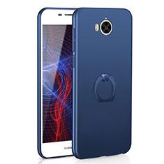 Funda Dura Plastico Rigida Carcasa Mate con Anillo de dedo Soporte A01 para Huawei Y5 (2017) Azul