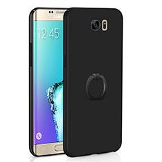 Funda Dura Plastico Rigida Carcasa Mate con Anillo de dedo Soporte A01 para Samsung Galaxy S6 Edge SM-G925 Negro