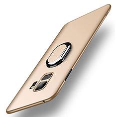 Funda Dura Plastico Rigida Carcasa Mate con Anillo de dedo Soporte A01 para Samsung Galaxy S9 Oro