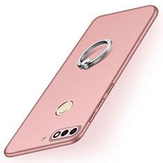 Funda Dura Plastico Rigida Carcasa Mate con Anillo de dedo Soporte A02 para Huawei Y7 (2018) Oro Rosa