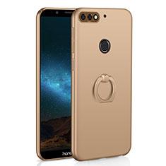 Funda Dura Plastico Rigida Carcasa Mate con Anillo de dedo Soporte A03 para Huawei Enjoy 8 Oro