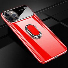 Funda Dura Plastico Rigida Carcasa Mate con Magnetico Anillo de dedo Soporte A01 para Apple iPhone 12 Pro Max Rojo