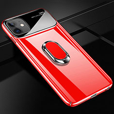 Funda Dura Plastico Rigida Carcasa Mate con Magnetico Anillo de dedo Soporte A01 para Apple iPhone 12 Rojo