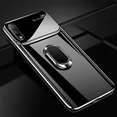 Funda Dura Plastico Rigida Carcasa Mate con Magnetico Anillo de dedo Soporte A01 para Huawei Enjoy 10 Negro